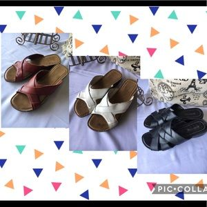 3 PAIRS St Johns Bay leather slide sandals